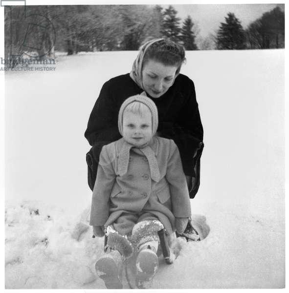 Madame Henriette de Gaulle and her son in winter at La Boisserie, 1944-60 (b/w photo)