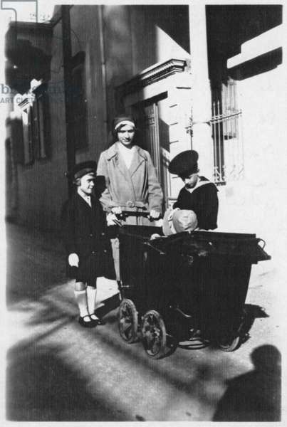 Elisabeth de Gaulle, the governess Marcelle Vernet, Philippe and Anne de Gaulle before their house, rue Tadmore in Beirut, Lebanon, Winter 1930-31 (b/w photo)