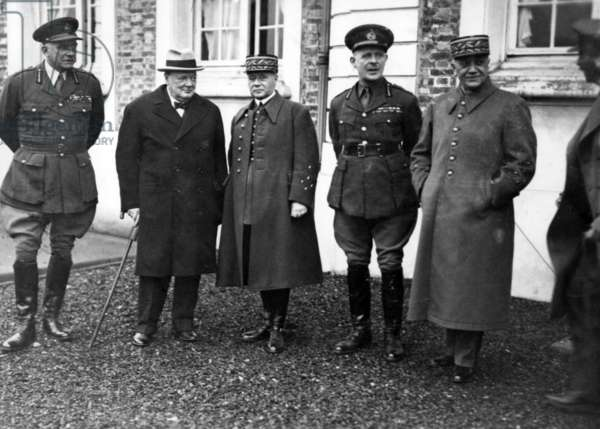 Winston Churchill, General Gamelin, General Alan Brooke and General Georges at Chateau de Montry, Meaux, Autumn 1939 (b/w photo)
