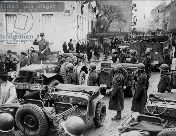 General Charles de Gaulle (1890-1970) at Mulhouse, 11th February 1945 (b/w photo)