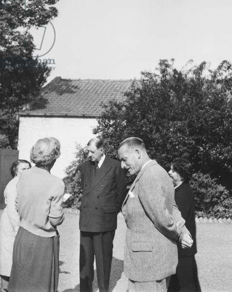 General Charles de Gaulle, Madame Yvonne de Gaulle, Madame Cada Vendroux, Jacques Vendroux at Calais, 19th October 1957 (b/w photo)