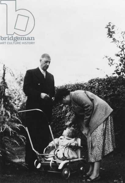 General Charles de Gaulle (1890-1970) Yvonne de Gaulle (1900-70) and their grandson Jean de Gaulle at La Boisserie, 1955 (b/w photo)