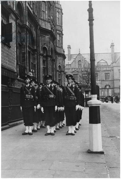 Philippe de Gaulle (b.1921) parading in London as midshipman of the Naval College, May 1941 (b/w photo)