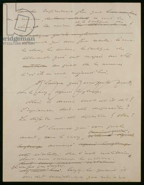 Original manuscript of the 18th June 1940 address of General de Gaulle, 1rst page verso, 1940 (ink on paper)