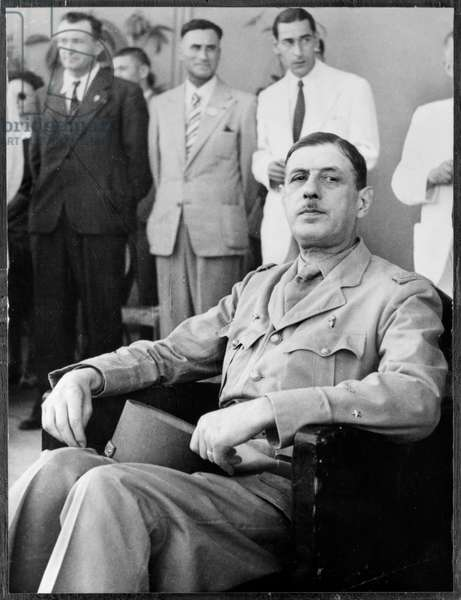General Charles de Gaulle (1890-1970) during the liberation of Tunisia, May 1943 (b/w photo)
