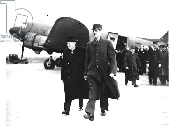 Charles de Gaulle (1890-1970) welcoming Winston Churchill (1874-1965) to Paris, 11th November 1944 (b/w photo)