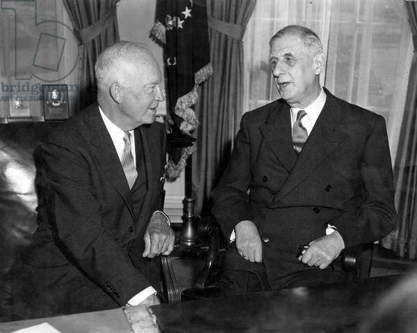 General de Gaulle and Eisenhower at the White House, Washington D.C., 26 April 1960 (b/w photo)