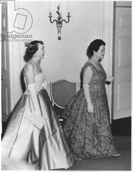 Yvonne de Gaulle (1900-79) and Madame Eisenhower at the White House in Washington, 22nd-29th April 1960 (b/w photo)