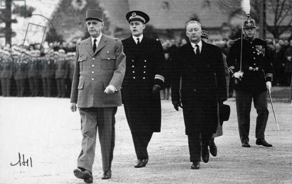 Charles de Gaulle at Saint-Cyr Coëtquidan, 16 February 1965 (b/w photo)