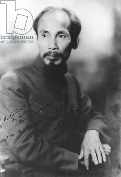 Portrait of Ho Chi Minh (1890-1969) July 1946 (b/w photo)