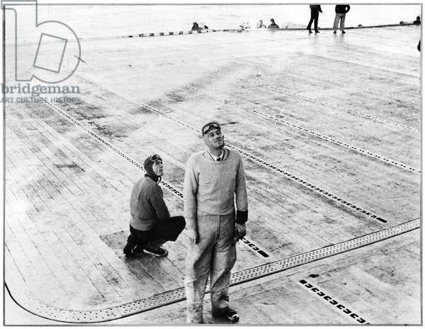 Capitaine de Corvette Philippe de Gaulle (b.1921) on the La Fayette Aircraft Carrier, 1954-56 (b/w photo)