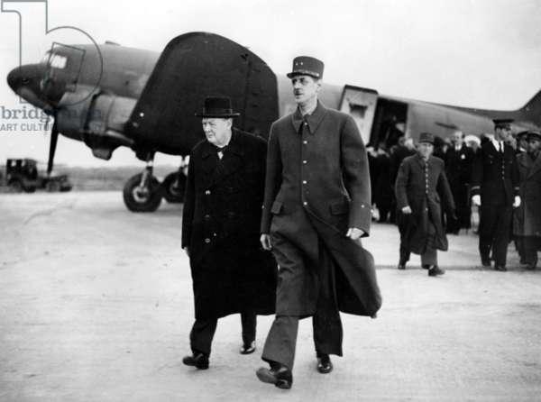 General de Gaulle welcoming Winston Churchill to Paris, 11 November 1944 (b/w photo)