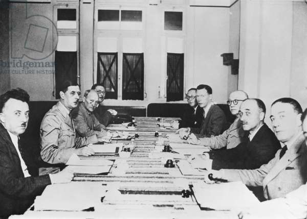 General Charles de Gaulle (1890-1970) and the committee of Liberation in London, Autumn 1943 (b/w photo)