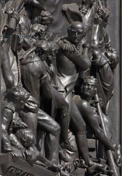 Detail of 'Death of Nelson at Trafalgar', panel from the base of Nelson's Column by John Edward Carew (photo)