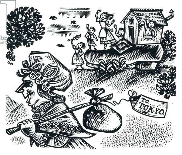 There was an old woman who lived in a shoe, 1958 (wood engraving)