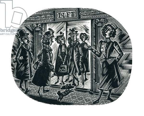 Going Down, 1954 (wood engraving)