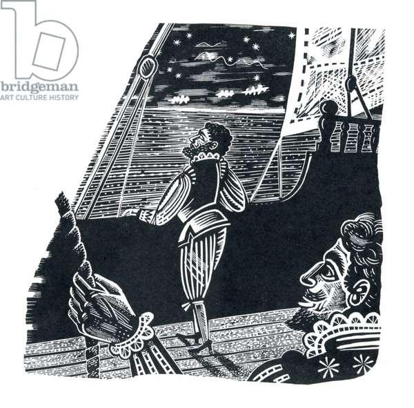 Night Sky, 1951 (wood engraving)