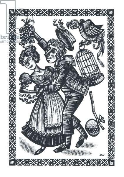 The Sailors Return, 1955 (wood engraving)
