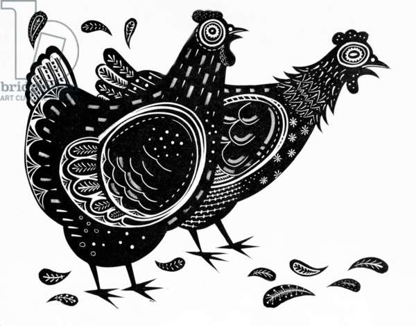 The Modern Hen/Festival of Britain, 1951 (wood engraving)