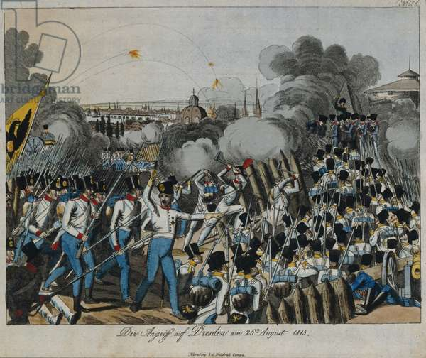 Battle of Dresden during the War of the Sixth Coalition, 26-27 August 1813, c.1820 (colour litho)