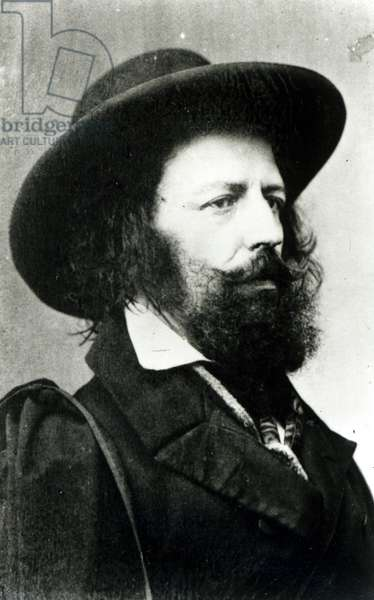 Alfred, Lord Tennyson (1809-92) photographed by Cundall and Donnes, 15th April 1861 (b/w photo)