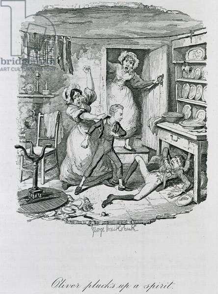 Oliver Plucks Up a Spirit, 1837 (litho)