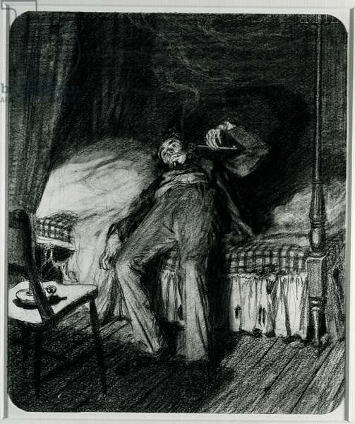 On Dangerous Ground, 1912 (charcoal on paper)