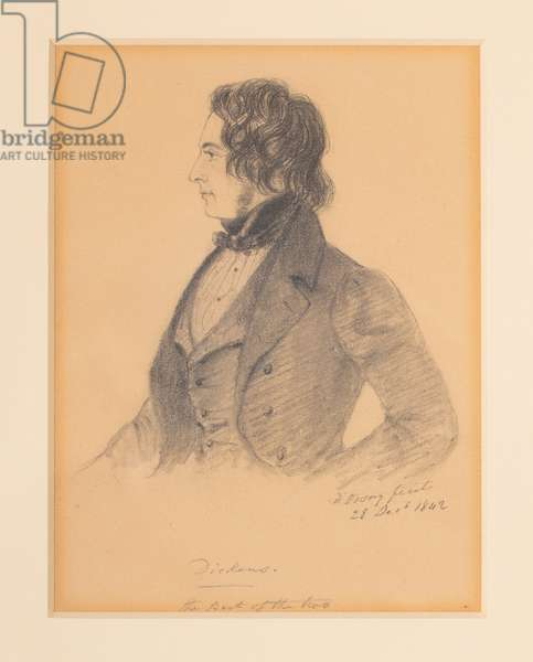 Charles Dickens, 1842 (graphite on paper hightened with chalk)