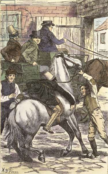 Mr Winkle mounts his Steed, illustration from 'The Pickwick Papers' by Charles Dickens (1812-70) 1837 (colour engraving)