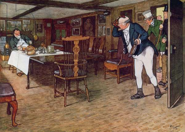 Mr Pickwick finds Mr Tupman having lunch at the Leather Bottle, Cobham, 1910 (colour engraving)