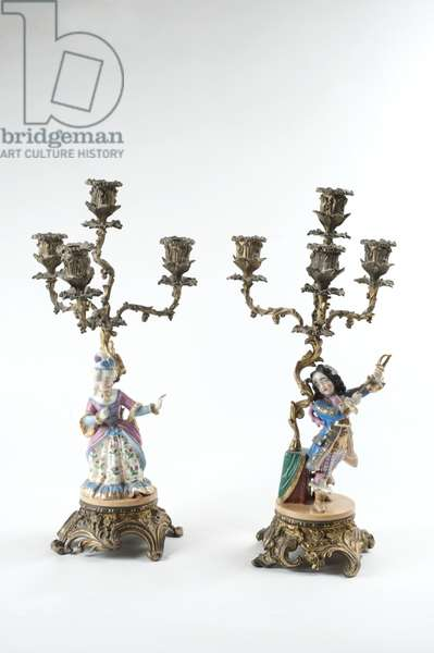 Candelabra figures of a woman and a man, 1800-50 (brass & porcelain)