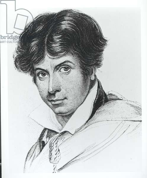 Portrait of James Henry Leigh Hunt (1784-1859) (engraving) (b/w photo)