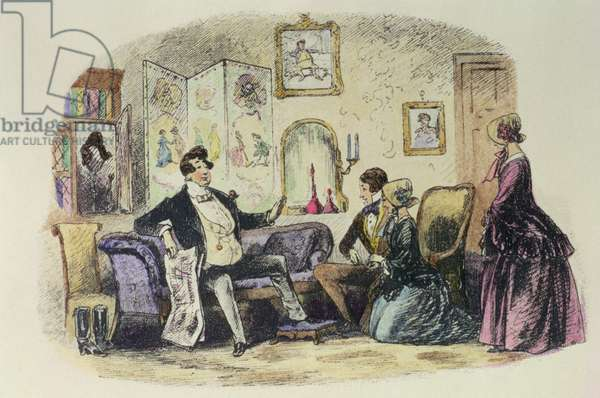 Prince Turveydrop blesses his son and daughter-in-law when they announce their engagement with Esther Summerson looking on, illustration from 'Bleak House' by Charles Dickens (1812-70) 1853 (colour engraving)