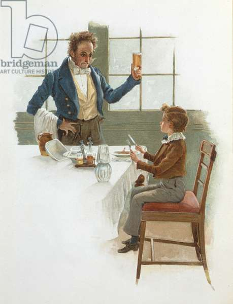 The Friendly Waiter, illustration to 'David Copperfield' (1850) by Charles Dickens (1812-70) (colour litho)