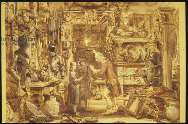 The Old Curiosity Shop / Little Nell's Home / Interior of the Old Curiosity Shop, 1840 (w/c on paper)