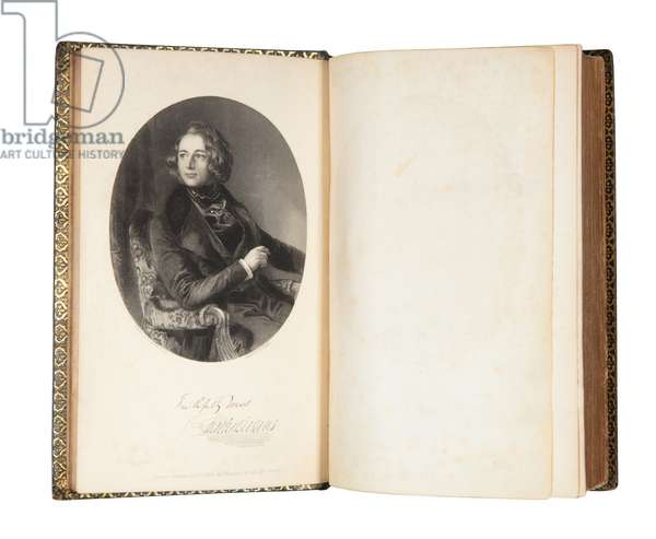 Frontispiece of a first edition of Nicholas Nickleby by Charles Dickens, 1839 (litho)