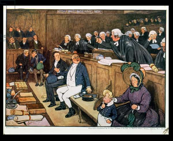 The Trial of Mr Pickwick, 1910 (colour litho)