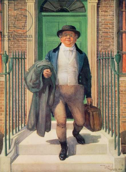 Mr Pickwick leaving 48 Doughty Street, 1910 (oil on canvas)