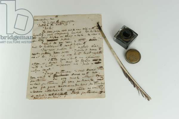 Pickwick Papers manuscript, c.1837, and Dickens's quil and ink, photographed 2000s (pen & ink on paper)
