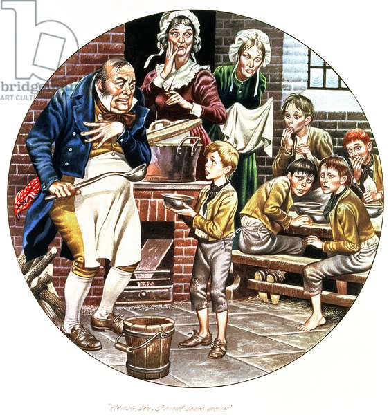 The artist's second interpretation of Oliver Twist asking for more, from the 'World of Charles Dickens' later made as a Spode plate (w/c on paper)