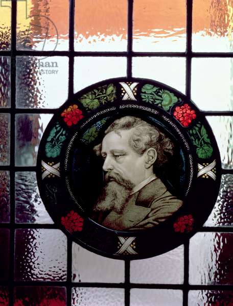 Window showing head of Charles Dickens as an elderly man (stained glass)
