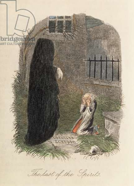 'The Last of the Spirits', illustration to 'A Christmas Carol' by Charles Dickens (1812-70) 1843 (colour engraving)