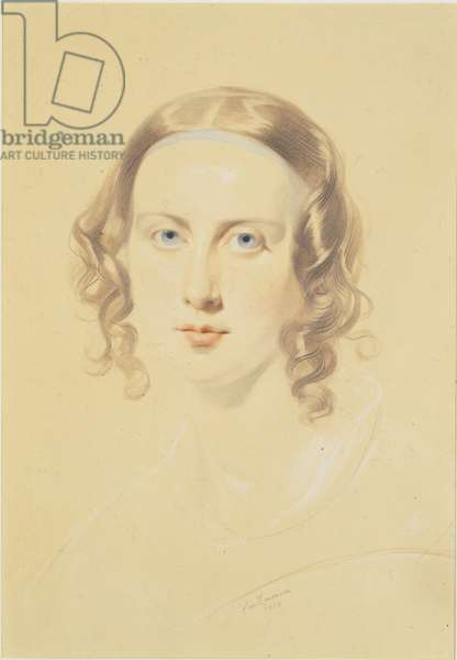 Early portrait of Catherine Dickens, 1838 (chalk, crayon & pencil on paper)