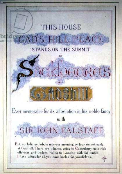 Dickens: memorabilia, Gads Hill Place inscription