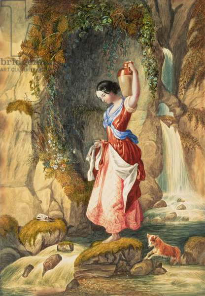 Georgina Hogarth in front of St. Nectan's, or St. Nighton's, Kieve; Girl at the Waterfall; Waterfall at St Nighton's Kieve, near Tintagel (w/c on paper)