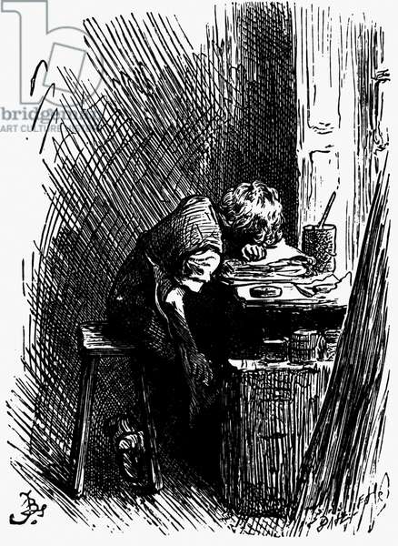 Dickens in the blacking warehouse, 1880s (litho)