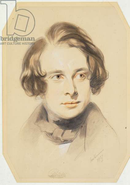 Early portrait of Charles Dickens, 1837 (chalk, crayon and pencil on paper)