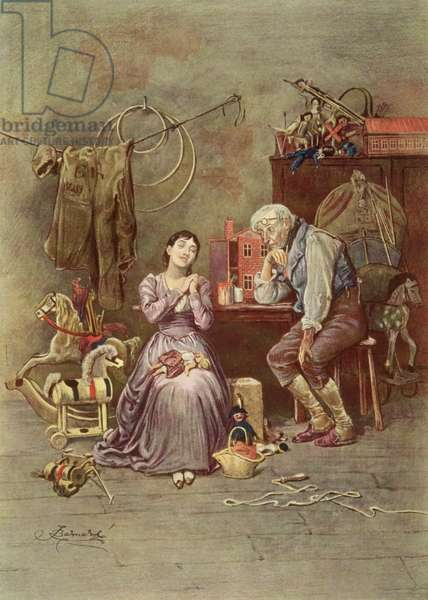 Caleb Plummer and his blind daughter, scene from 'The Cricket on the Hearth' (1845) by Charles Dickens (1812-70) (colour litho)