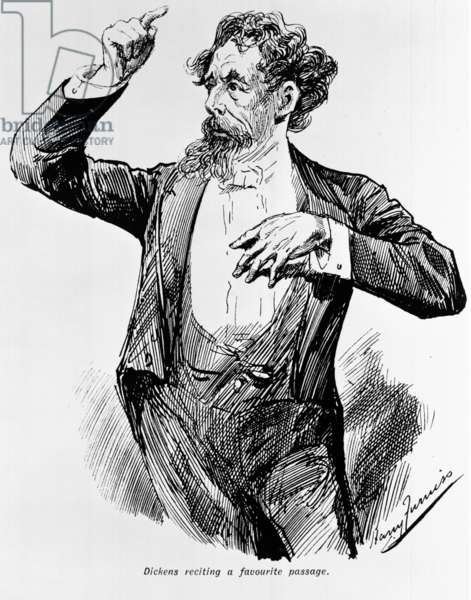 Dickens reciting his favourite passage, 1900s (litho)