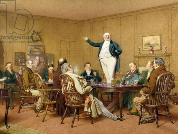 Mr Pickwick Addresses the Club, 1890 (w/c on paper)